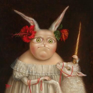 Portrait with Unicorn. Fine Art Prints